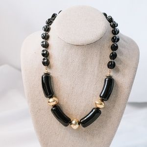 Vintage - Black and Gold Bead Necklace